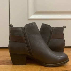 cute leather rock port boots grey and brown